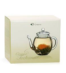 Creano Glaskanne zur perfekten Zubereitung der Teeblumen