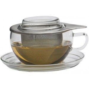 Jenaer Glas Teetasse mit Siebeinsatz und Deckel o,4l