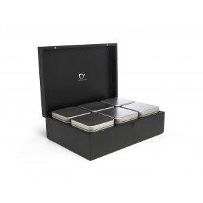 Teebox mit 6 Teedosen schwarz